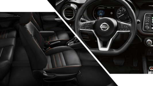 side by side images with a view of black leather seats on the left and a view of a Nissan steering wheel on the right