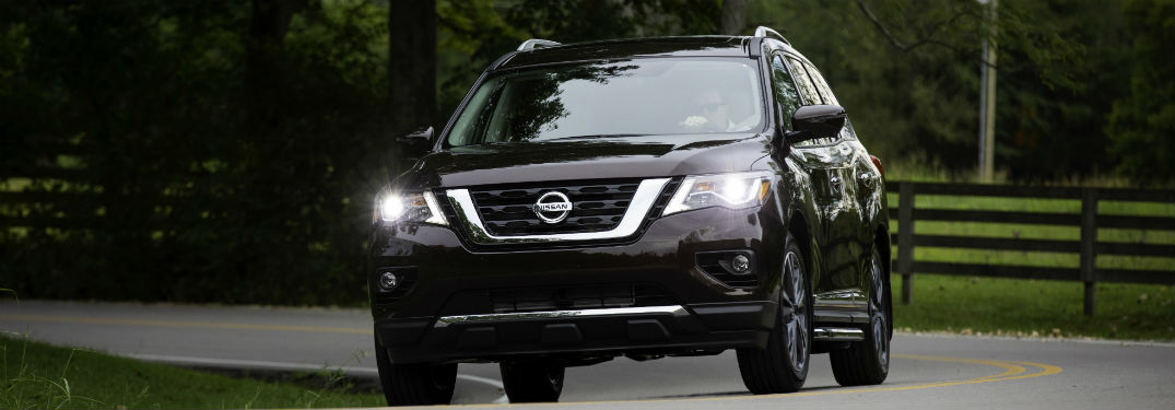 front view of a black 2019 Nissan Pathfinder