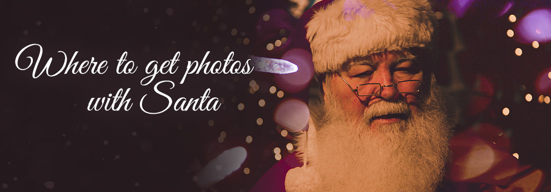 Santa Claus on Purple Background with Christmas Lights and Where to Get Photos with Santa Text