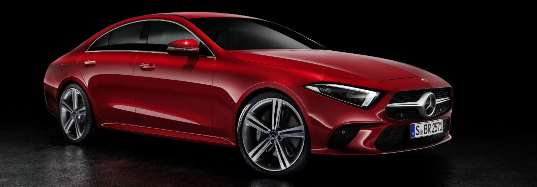 Red 2019 Mercedes-Benz CLS450 on Black Background