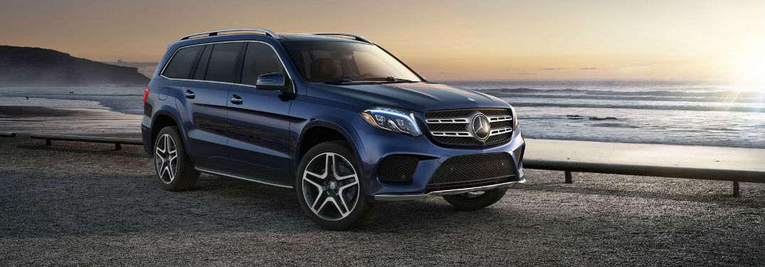 Blue 2018 Mercedes-Benz GLS Parked at the Beach at Sunset