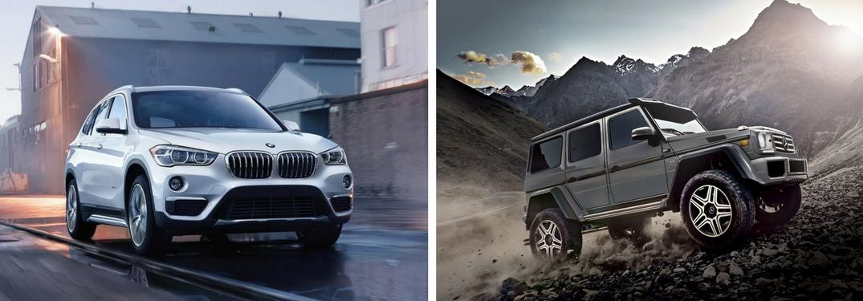 White 2018 BMW X1 on a City Street vs 2017 Mercedes-Benz G-Class on a Mountain Trail