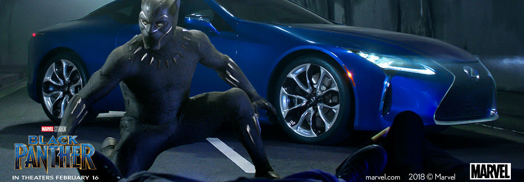 Blue 2018 Lexus LC 500 in Tunnel with Black Panther in Front and Marvel Studios/Black Panther Logos in Foreground