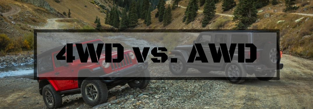 Red and Black Jeep Wrangler Models Climbing Rocks with Gray Text Box and Black 4WD vs. AWD Text