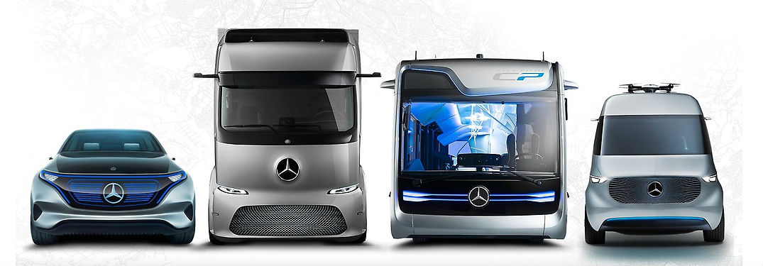 Mercedes-Benz Electric Intelligence Concept Car, Electric Commercial Truck, Electric Bus and Electric Van on White Background