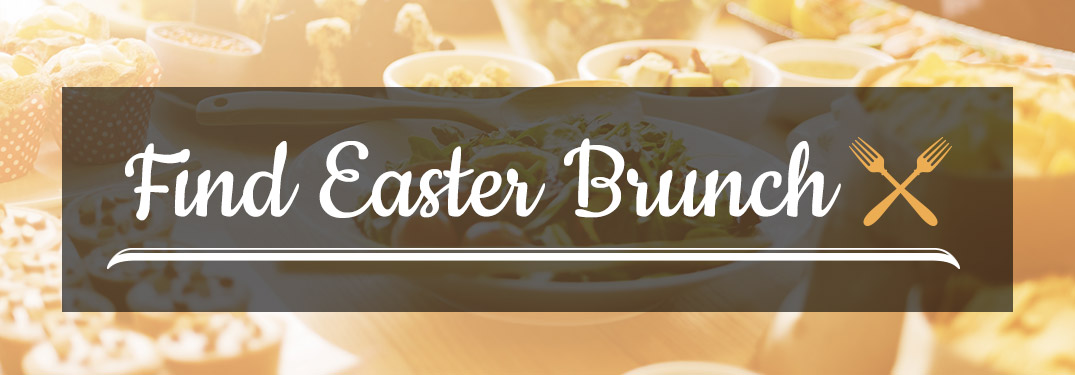 Yellow Shaded Image of Brunch on a Table with Dark Text Box and White Find Easter Brunch Text