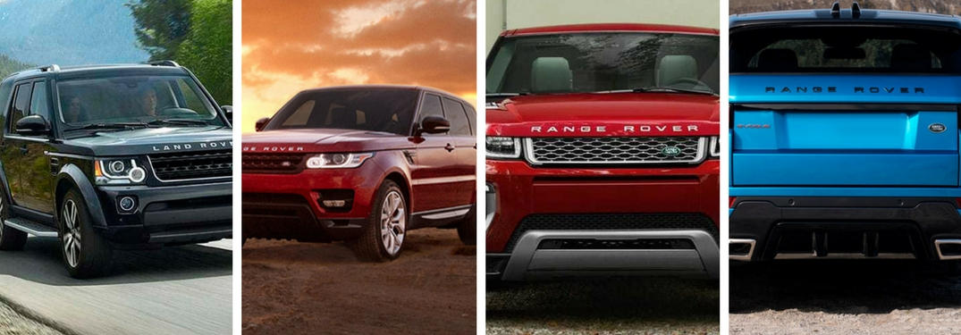 Black Range Rover on Country Road, Red Range Rover Sport on the Trail, Close Up of Red Range Rover Evoque Front Exterior and Blue Range Rover Velar Rear Exterior