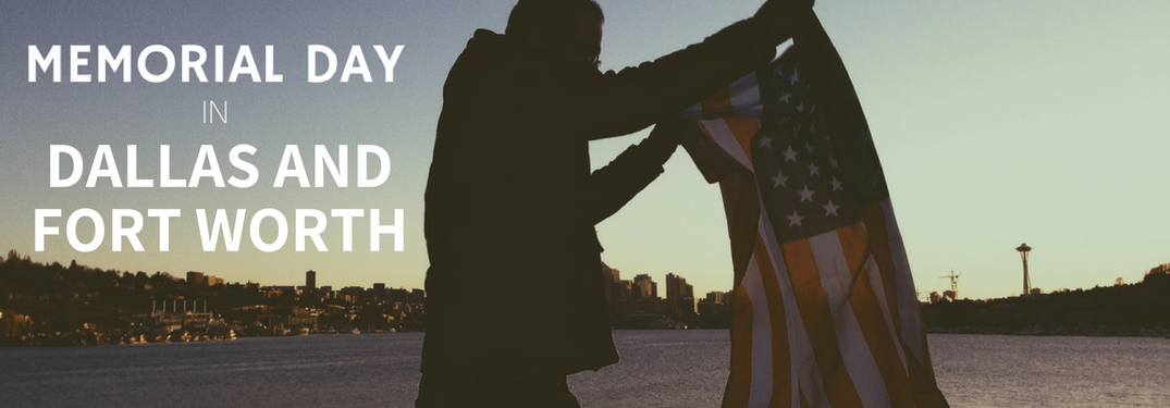 Man Holding an American Flag with a Skyline in the Background