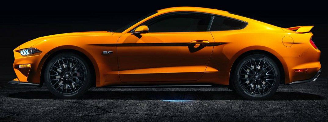 Orange 2018 Ford Mustang GT Side Exterior at Night