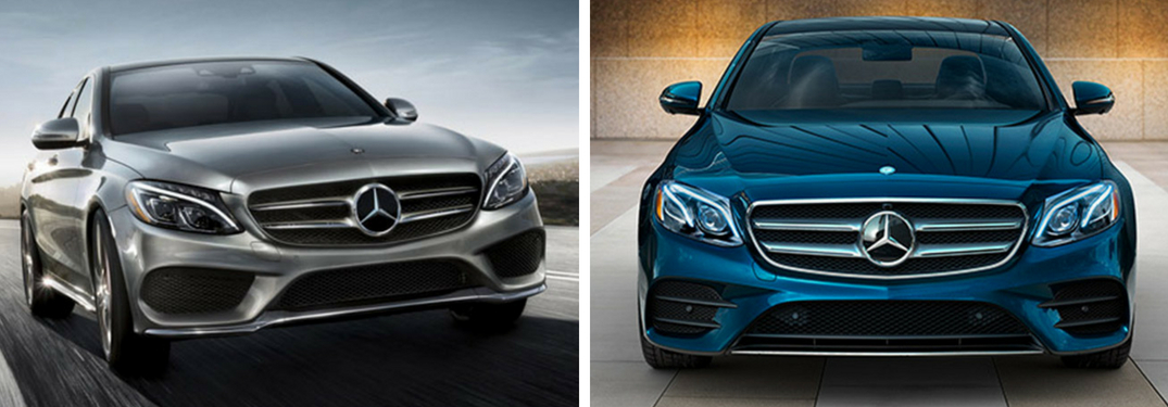 Pictures of a Silver 2018 Mercedes-Benz C-Class on a Highway and a Blue 2018 Mercedes-Benz E-Class in a Driveway