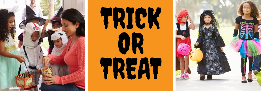 Picture of a Mom Handing Out Halloween Candy, an Orange Background with Black Trick or Treat Text and a Picture of Children in Costume Trick or Treating