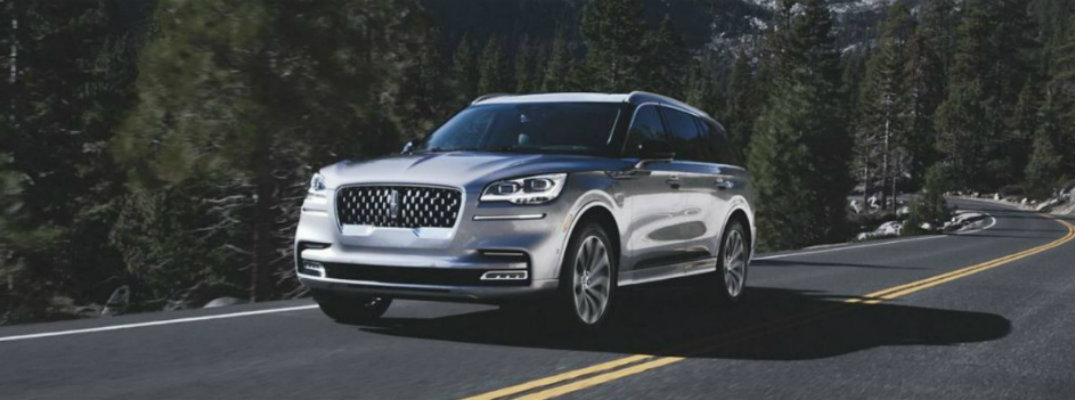 2020 lincoln aviator on forest road