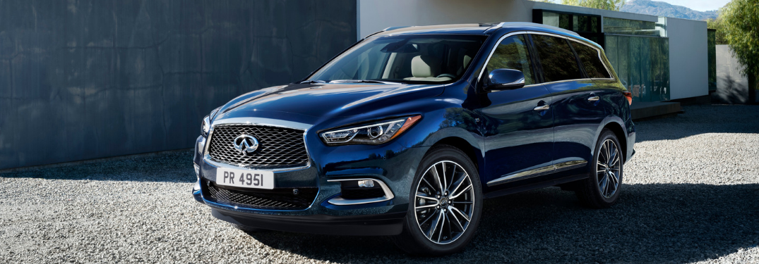 front and side view of blue 2018 infitniti qx60