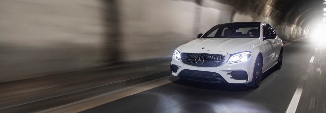 White 2019 Mercedes-AMG E53 Driving in a Tunnel