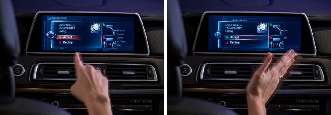 Finger Pointing at BMW iDrive Touchscreen to Accept a Call and Hand Swiping at BMW iDrive Touchscreen to Reject a Call