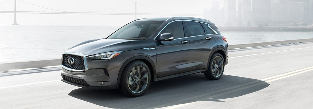 Gray 2019 Infiniti QX50 Front Exterior on a Freeway