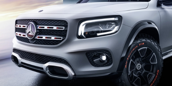 Close Up of Mercedes-Benz GLB Concept Grille, Lights and Wheels