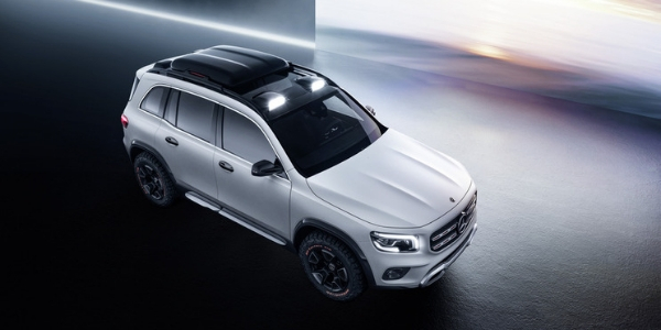 Overhead View of Mercedes-Benz GLB Concept in Front of Snowy Background Image