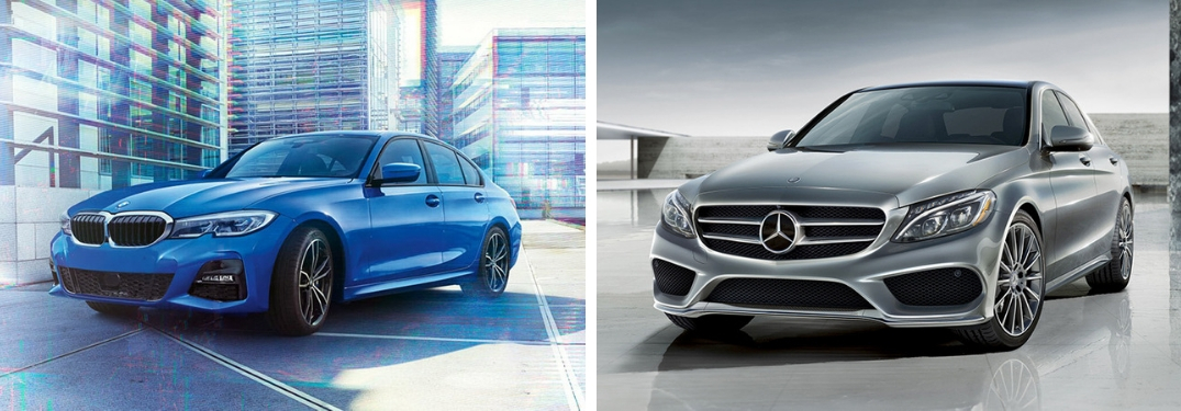 Blue 2019 BMW 3 Series on City Street vs Silver 2019 Mercedes-Benz C-Class in a Driveway
