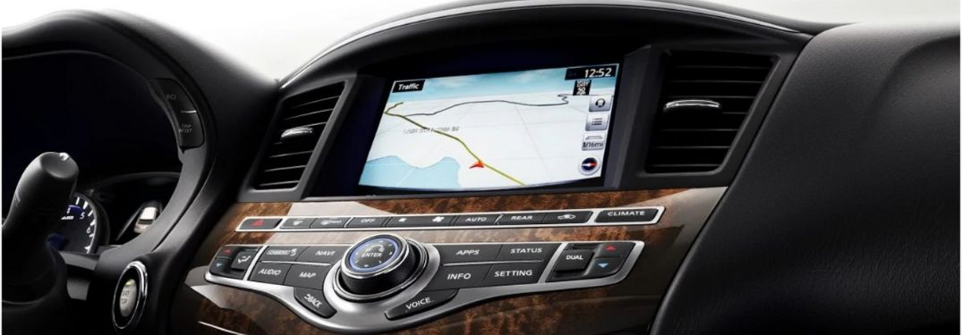 Close Up of 2020 Infiniti QX60 InTouch Navigation and Center Console