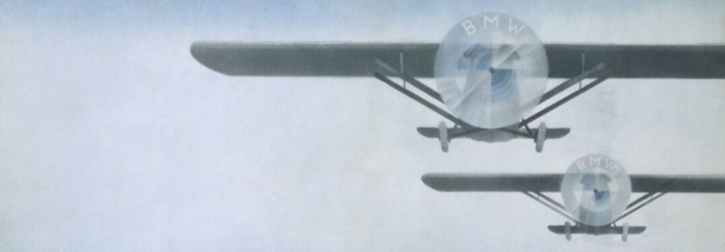 1929 BMW Ad with Blue and White Logo Integrated into Airplane Propellers