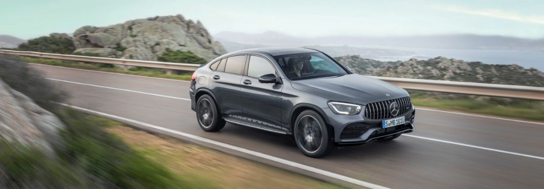 Gray 2020 Mercedes-AMG GLC 43 Coupe on a Coast Road