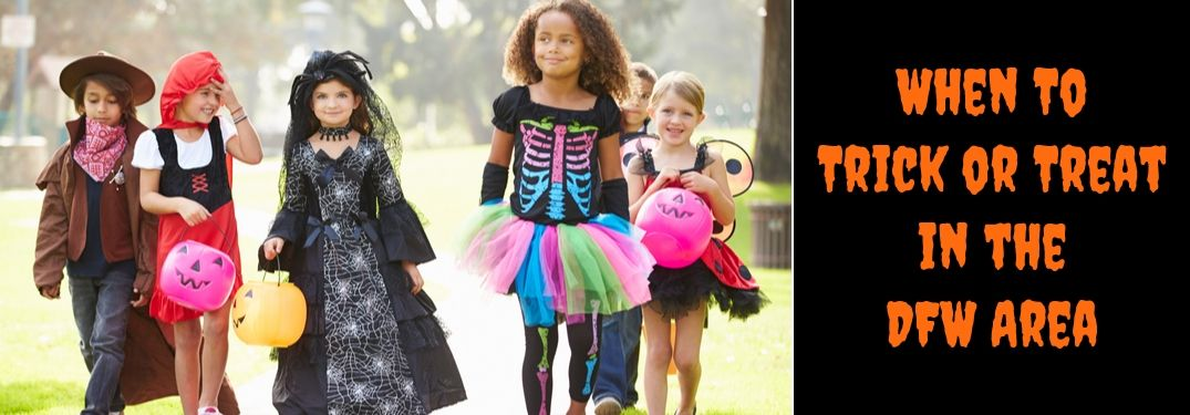 Children in Costumes Trick or Treating and Black Background with Orange When To Trick or Treat in the DFW Area Text