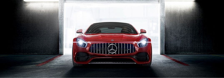 Red 2018 Mercedes-AMG GT Front Exterior in a Garage Doorway