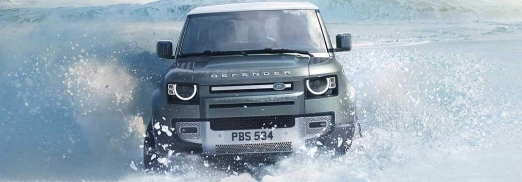 Pangea Green 2020 Land Rover Defender in the Snow