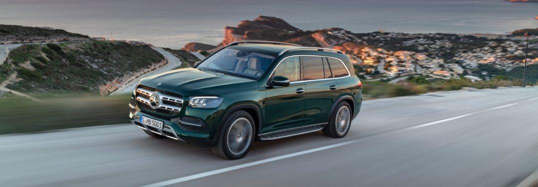 Green 2020 Mercedes-Benz GLS on a Coastal Road