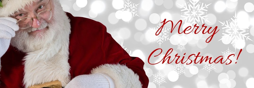 Santa Claus on Snowy White Background with Red Merry Christmas! Text
