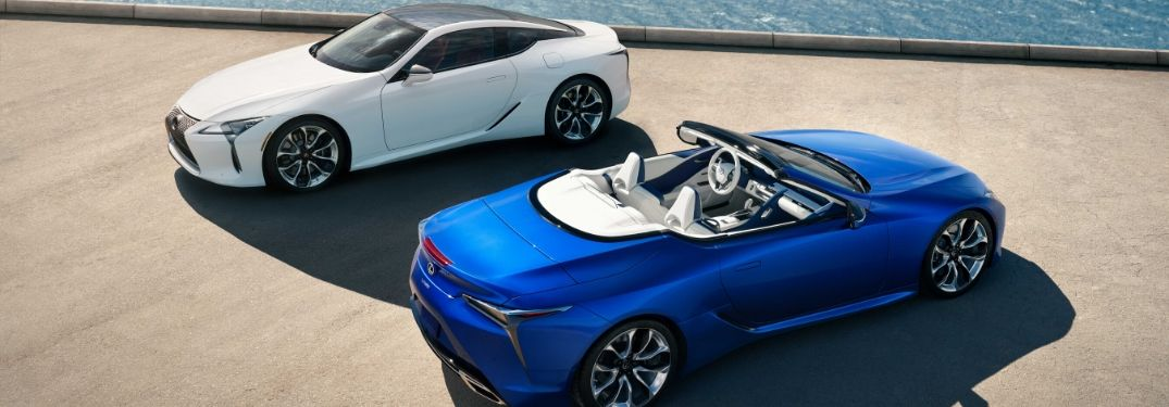 White and Blue 2021 Lexus LC 500 Convertible Models on a Pier