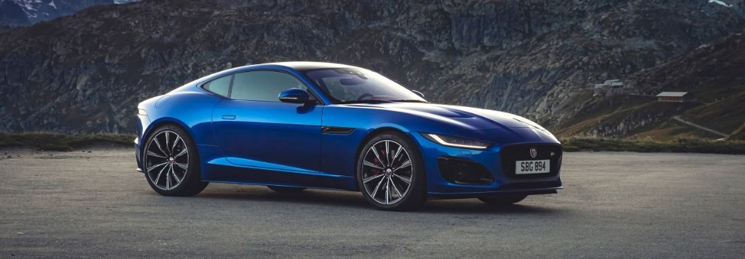 Blue 2021 Jaguar F-TYPE Side Exterior in the Mountains