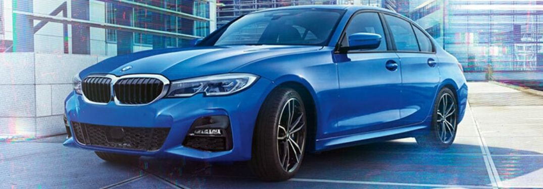 Blue 2019 BMW 3 Series on City Street