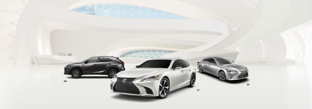 Lexus NX, Lexus LS and Lexus ES Models in White Building
