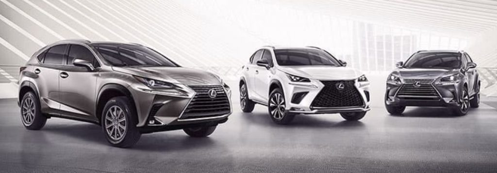 Three Lexus Crossovers on a Gray and White Background
