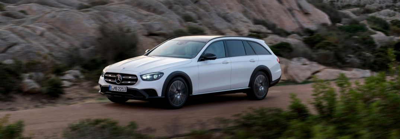 White 2021 Mercedes-Benz All-Terrain Wagon on Dirt Trail
