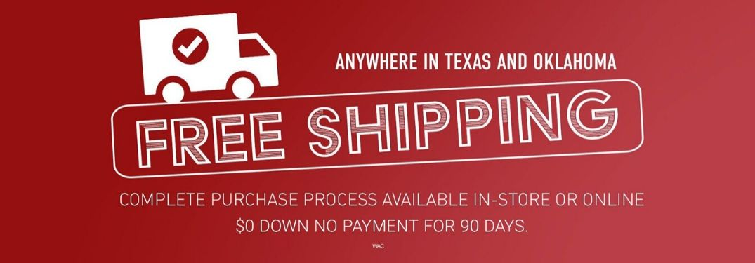 Red Background with White Truck Graphic and Free Shipping, $0 Down and No Payments for 90 Days Text