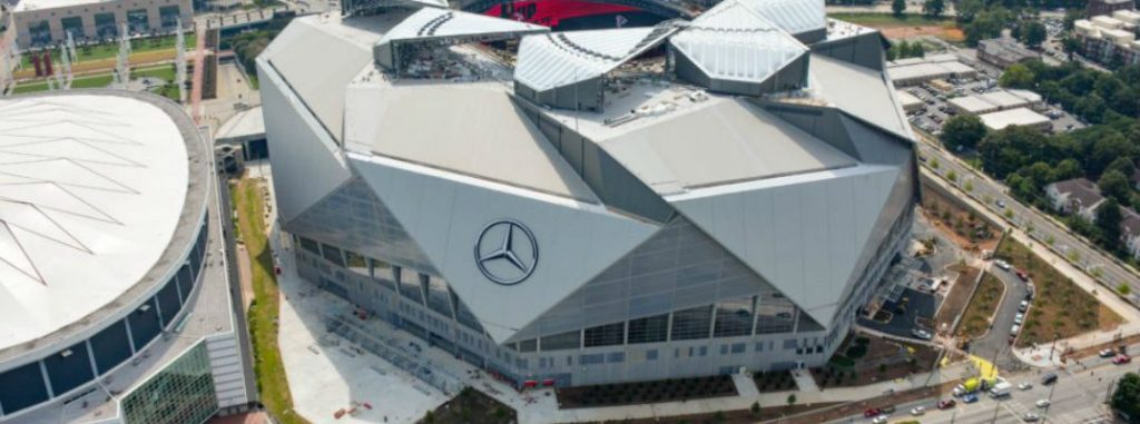 Mercedes benz stadium tour with rickie fowler video for Mercedes benz dealers atlanta