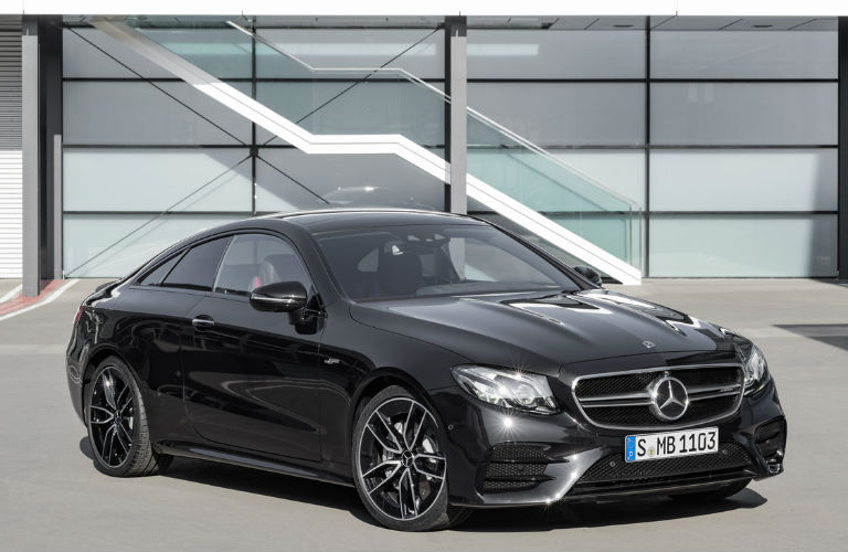 2019 E-Class Coupe in Black Front Side View