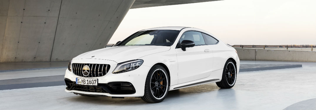 2019 AMG C 63 Coupe in White Front Side View