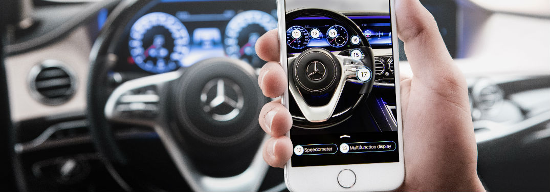 Ask Mercedes screen with camera aimed at steering wheel