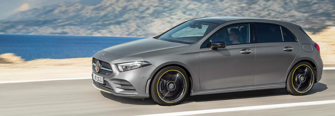 2019 MB A-Class exterior front fascia and drivers side going fast on lakeside road