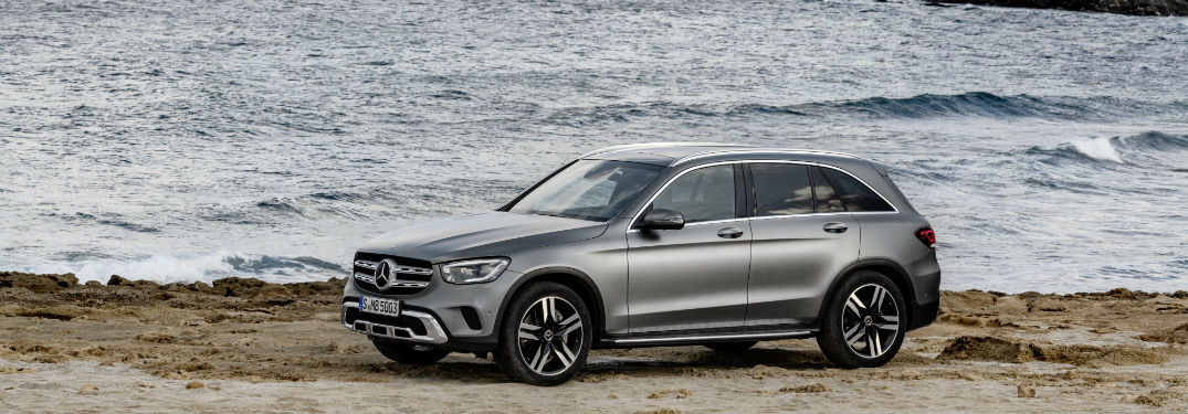 2020 MB GLC SUV exterior front fascia and drivers side on beach close to water