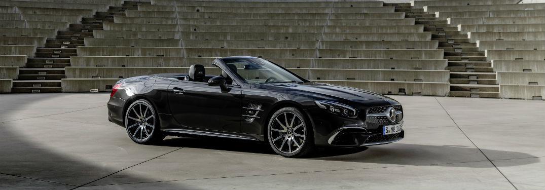 2020 MB SL Grand Edition exterior front fascia and passenger side parked in light spot on concrete