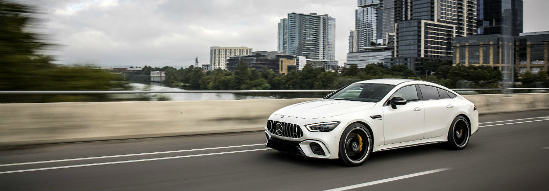 2019 MB AMG GT Coupe exterior front fascia and drivers side going fast on city highway