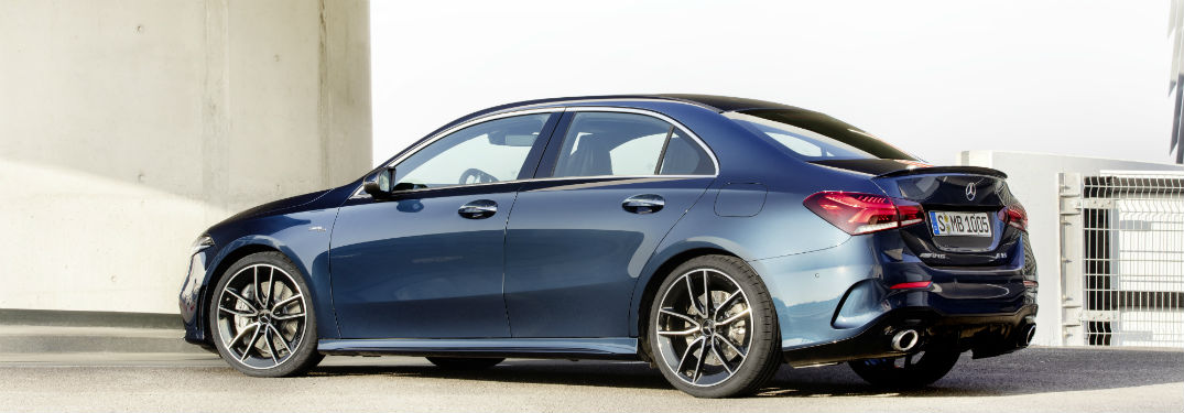 2020 MB AMG A 35 exterior back fascia and passenger side