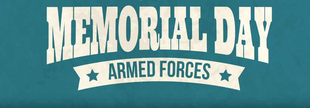Memorial Day Armed Forces banner against teal background