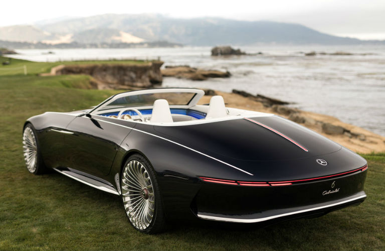 Vision Mercedes-Maybach 6 Cabriolet in black with top down rear view