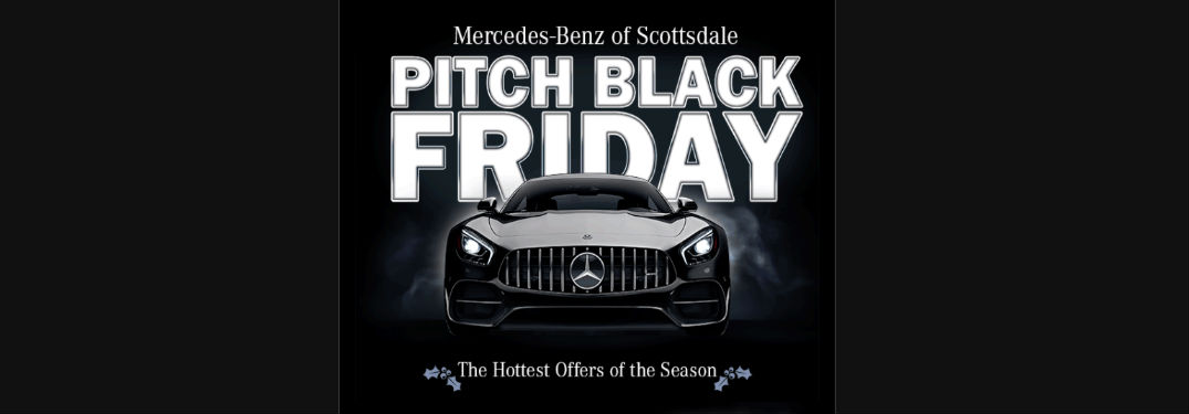 A Mercedes-Benz with Pitch Black Friday Text